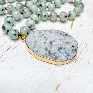 Dalmatian Speckled Jade Beaded Necklace